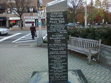 Memorial at the downtown center for Denville fish market